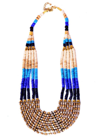 Ethnic Beaded Necklace- Blue