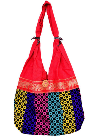 Fancy Red Dotted Cotton Shoulder Bag