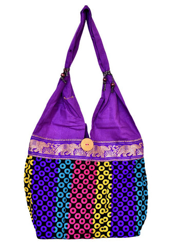 Fancy Purple Dotted Cotton Shoulder Bag