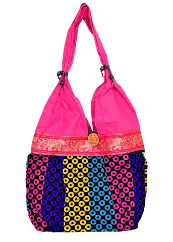 Fancy Pink Dotted Cotton Shoulder Bag