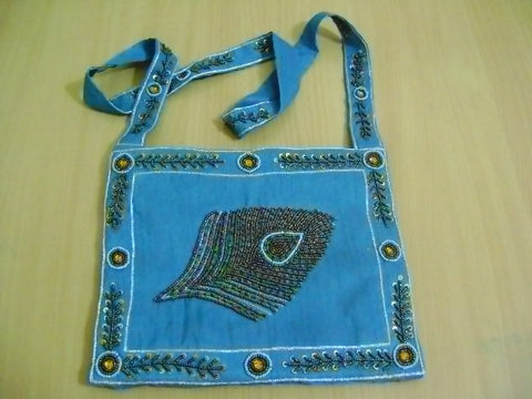 Beaded Peacock Leaf Shoulder Bag