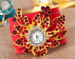Red Leather Watch and Bracelet