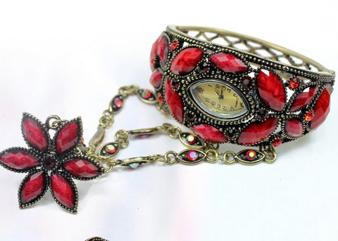 Red Bracelet with watch and ring