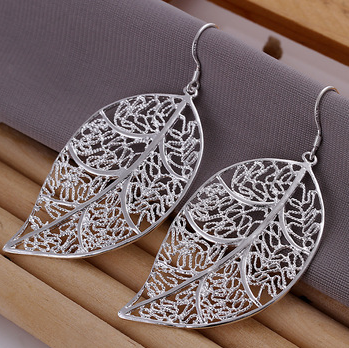 Hollow Leaf Pendant Earrings-Silver