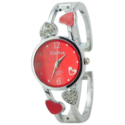 Graceful Rhinestone Heart Round Dial Quartz Bracelet Watch for Ladies- Red
