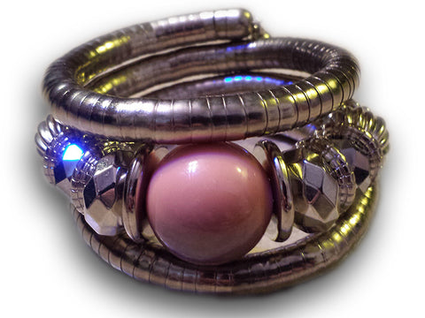 Silver Color Plated Tribal Bracelet with Pink Bead