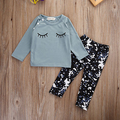 0-24 Months 2Pcs Toddler Kids Baby Girls Boy Outfits T-shirt Tops+Leggings Pants Clothes Set