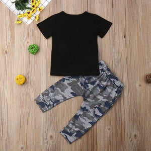 1-6 Years Toddler Kid Baby Boy Mama Ain't Raisin' No Fool! Camoflage Print Short Sleeve Tops T-Shirt Long Pants Tracksuit Outfit 2pcs Summer - OUTLATTE