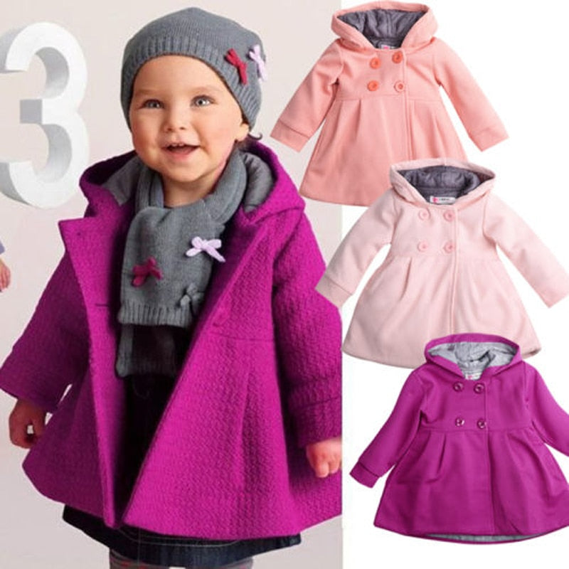 0-3 Years Luxury Baby Toddler Girl Coats Warm Fleece Winter Pea Coat Snow Jacket Suit Hooded Clothes Red Pink
