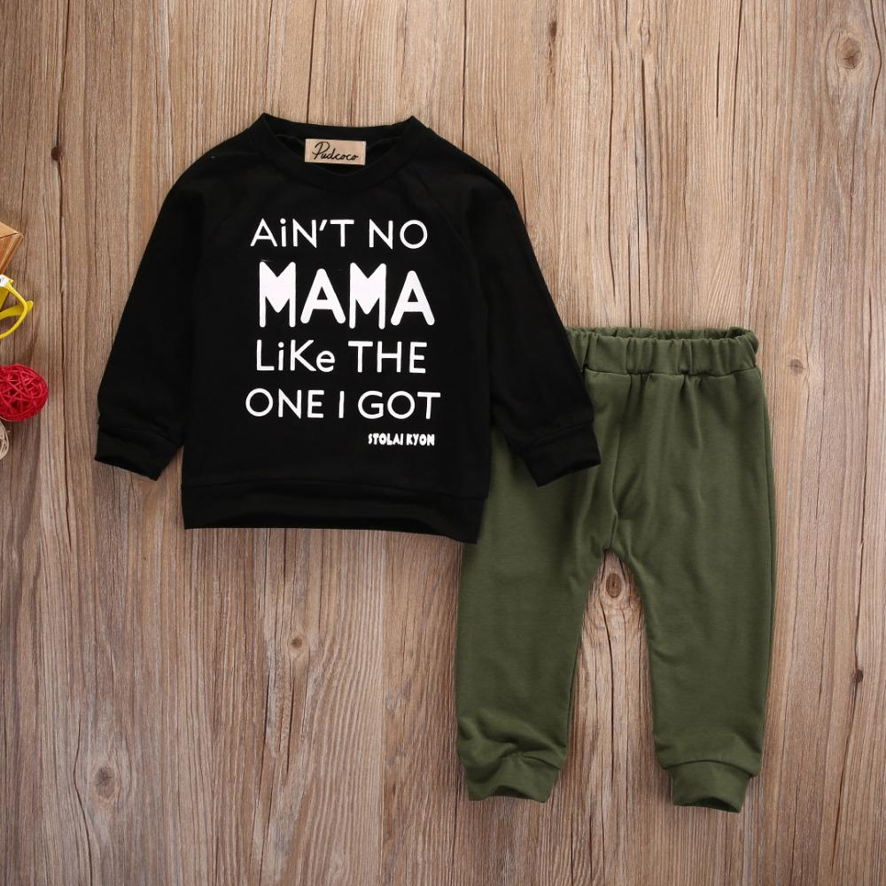 Newborn Toddler Infant Baby Boys Clothes Long Sleeve Mama Sweatshirt Top +Pants 2pcs Outfits Kids Clothing Set - OUTLATTE