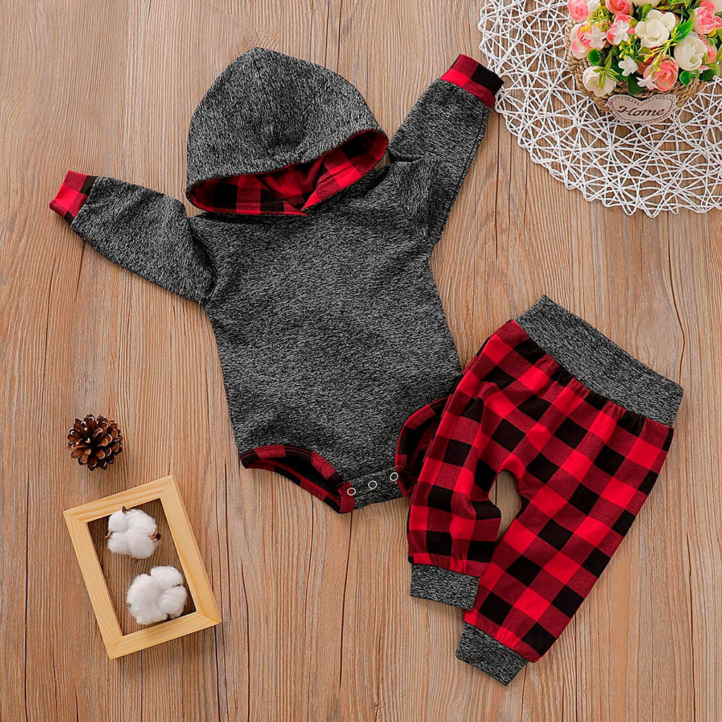 Infant Baby Boys Girls Plaid Hooded Pullover Romper Bodysuit Pants Outfits Baby Boy Clothes Newborn bodysuit Ropa De Bebe Varon