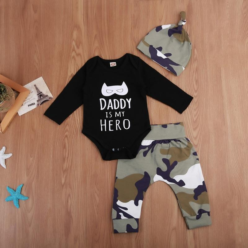 New Casual Daddy is My Hero Cotton Newborn Baby Boy Clothing Tops Romper Pants Legging Camouflage Outfits Set Clothes - OUTLATTE