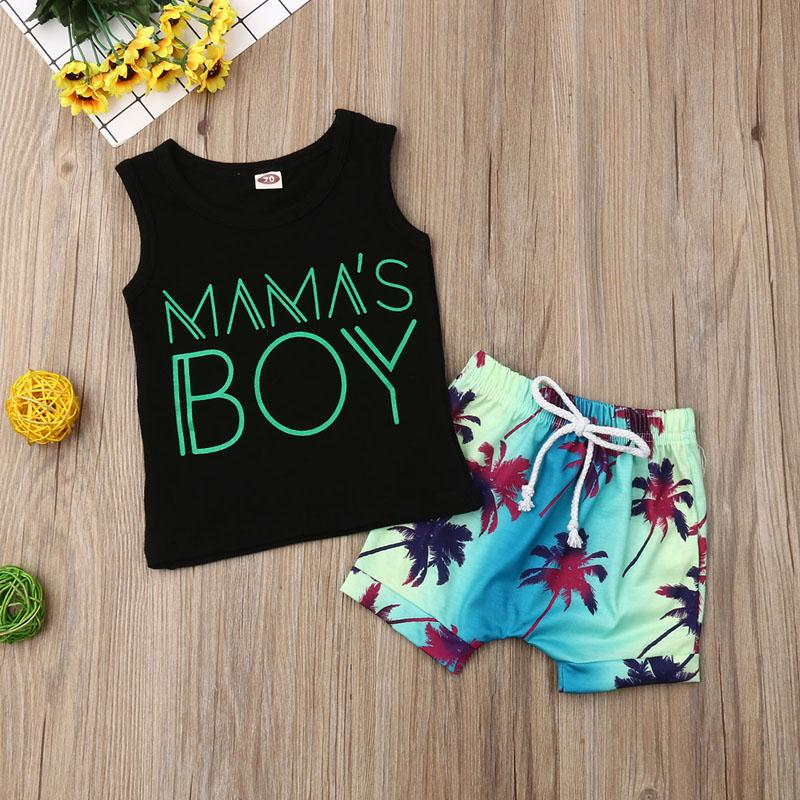 Baby Boy 0-24M Clothing Outfits Set Print Letter Fashion Sleeveless T-Shirt Top +Print Beach Shorts Clothes Set - OUTLATTE
