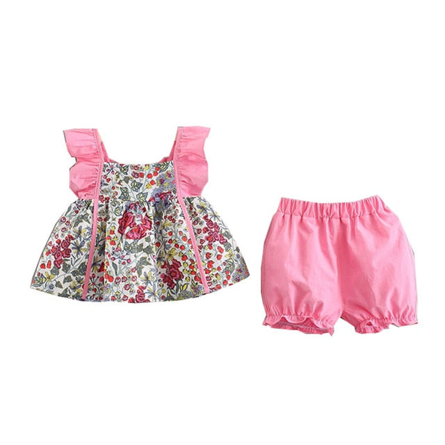 Summer Luxury Baby Girls Sleeveless Floral Print Strap T-shirt Tops+Shorts Suits Casual Outfits Sets