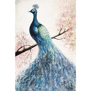 Peacock Hand Painted Oil Painting Nordic Posters Animals Peacock Artwork Prints Wall Pictures Home Decoration For Living Room - OUTLATTE