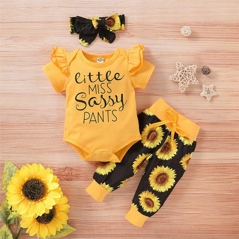 0-24M 3Pcs Newborn Baby Girl Clothes Set Print Sunflower Short Sleeve Romper Pant Sassy Cotton Outfit - OUTLATTE