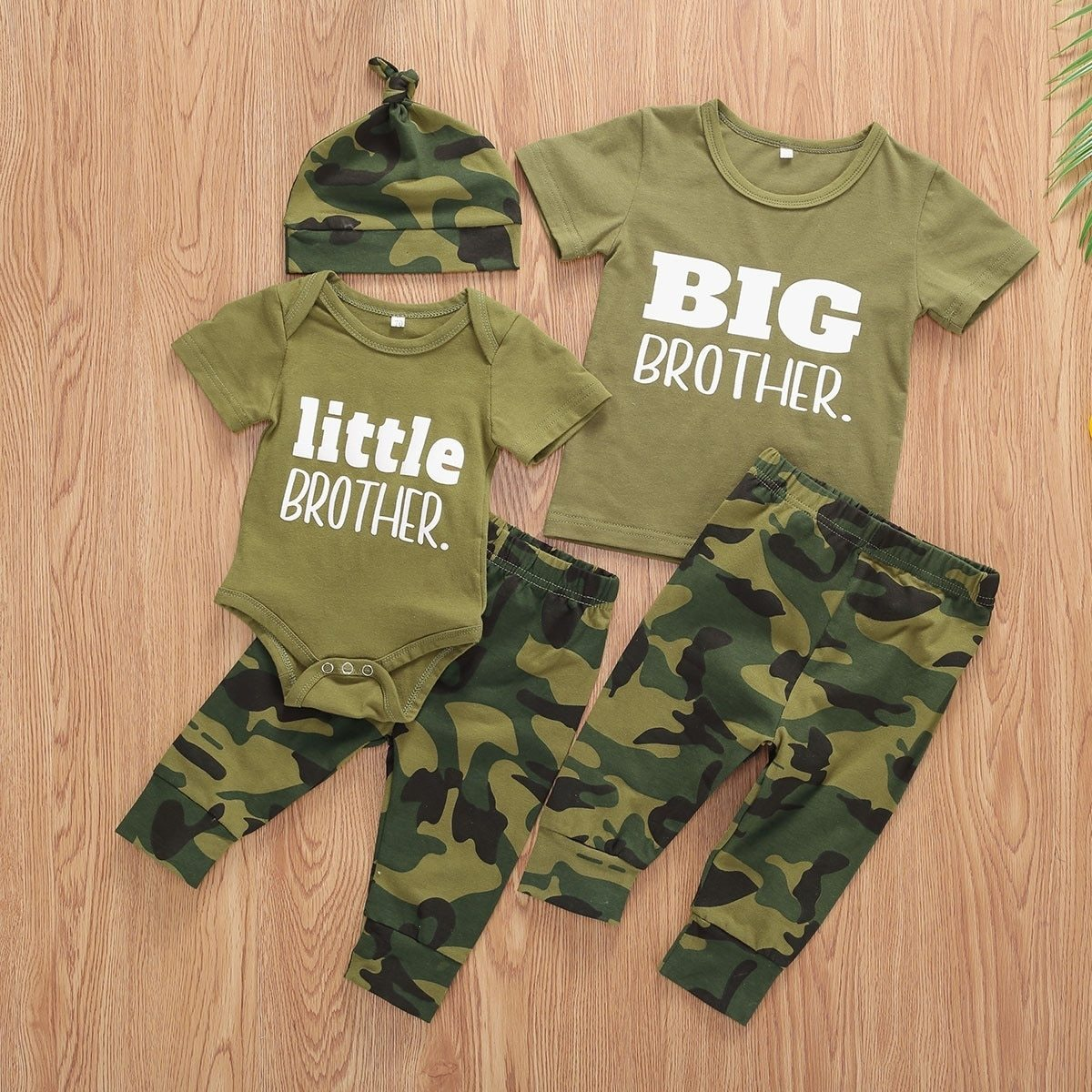 Infant Baby Boys Clothes Sets Brother Short Sleeve Romper Top+Pants Hats 3Pcs Boy Girl Summer Clothes Outfit - OUTLATTE