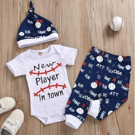0-3 Years Summer Newborn Infant Baby Boys Clothes Sets Letter Print Romper Tops+Shorts Pants Hats Boy Outfits - OUTLATTE