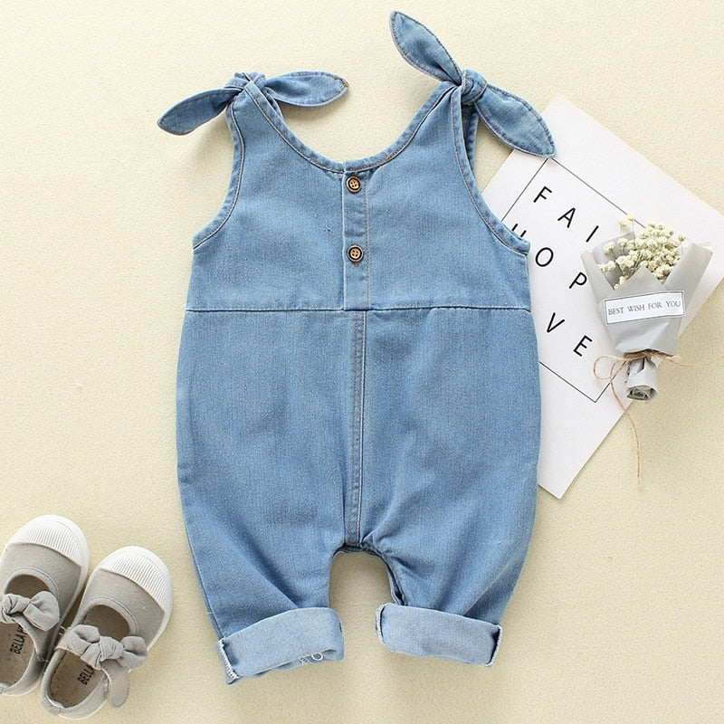 Summer Baby Girl Boy Rompers Luxury Fashion Strap Kid Jumpsuit Cute Newborn Baby Denim Clothes 3M 6M 12M 18M Baby Jumpsuit