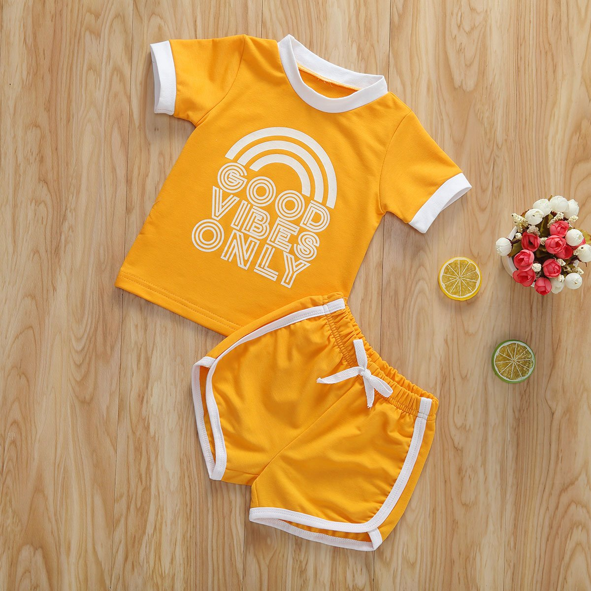 0-4 Years 2pcs Summer Baby Girls Clothes Sets Causal Letter Printed Short Sleeve T Shirts Tops+Shorts Set - OUTLATTE