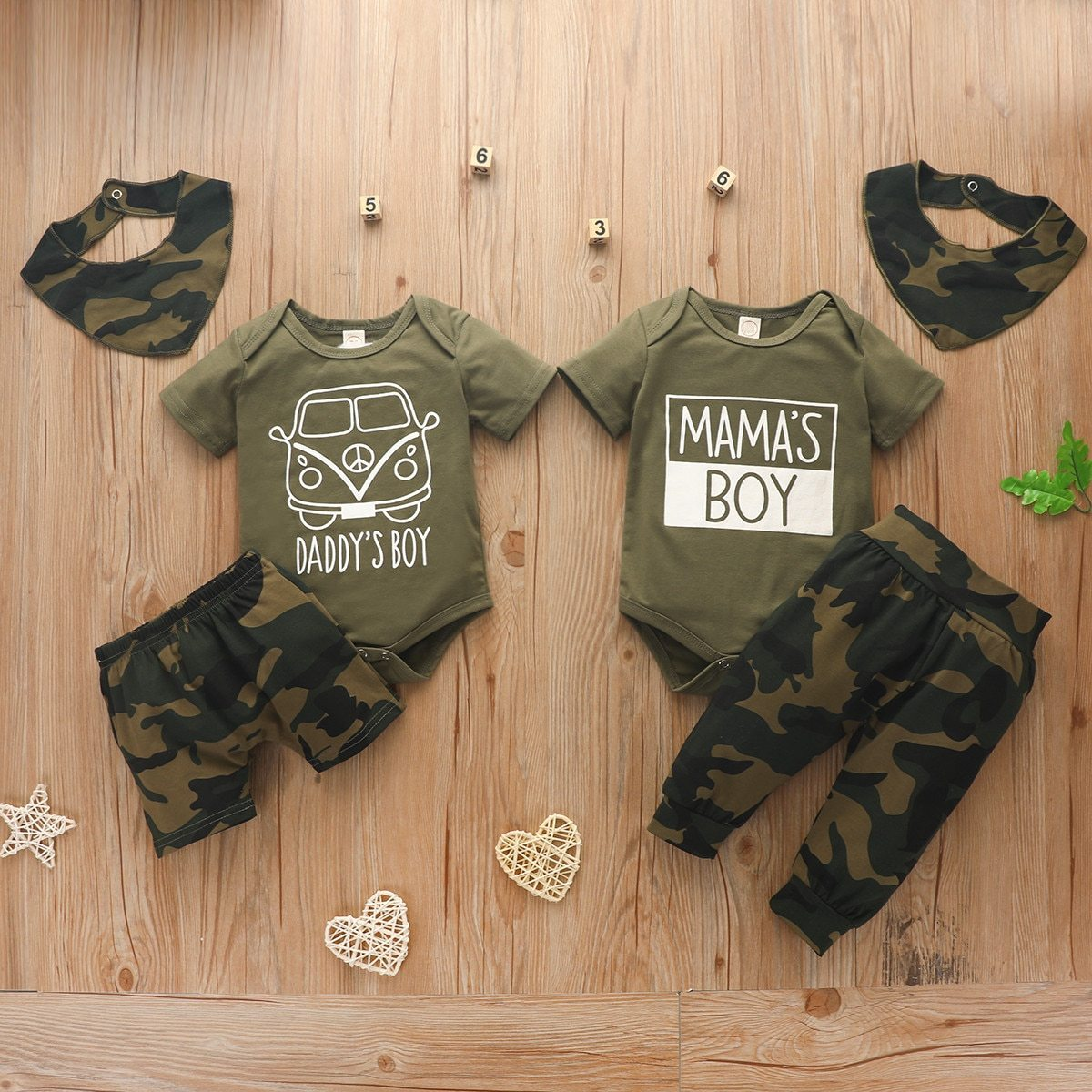 0-18 Months New 3 Pcs Baby Mama's Boy Summer Set Print Letter Short Sleeve Romper Top Camouflage Print Pants - OUTLATTE