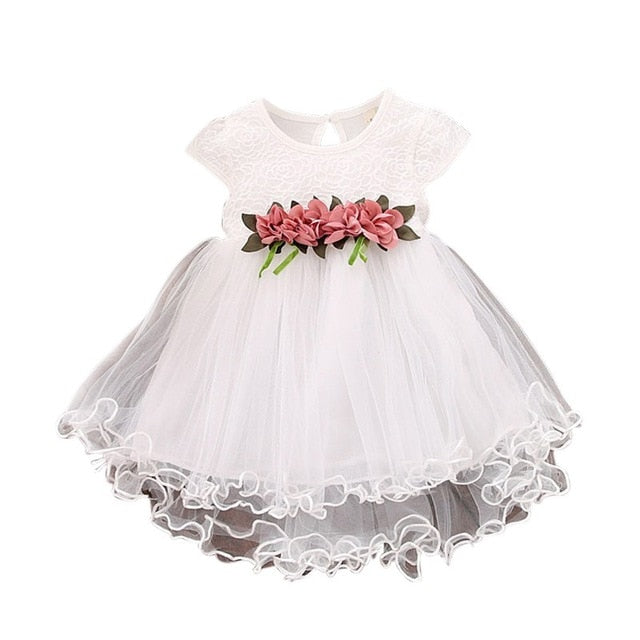 Cute Luxury Baby Girls Summer Floral Dress Princess Party Tulle Flower Dresses Toddler Infant Girls Mesh Tutu Dress 0-3 Years Clothing