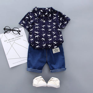 Dark Blue Baby Boy Clothing Sets Summer Toddler Fashion Luxury Boys Short Sleeve Crown Pattern Shirt Tops+ Denim Pants Kids Clothes Set Newborn Outfits