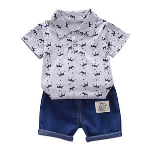 Gray Luxury Baby Boy Clothing Sets Summer Toddler Fashion Luxury Boys Short Sleeve Crown Pattern Shirt Tops+ Denim Pants Kids Clothes Set Newborn Outfits