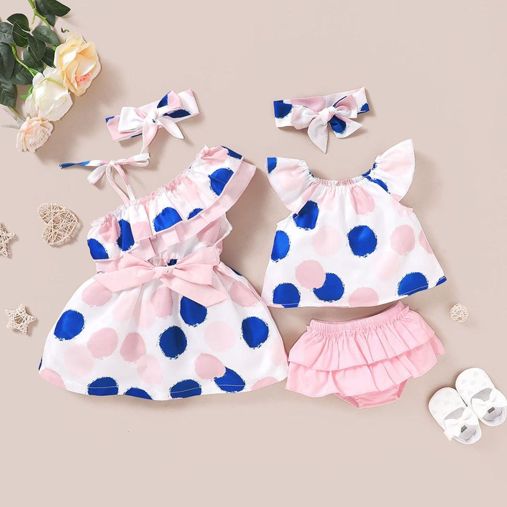 Summer Baby Girl Sleeveless Dot Pattern Print Dress Vest Tops Solid Color Shorts + Headband Sets Children's Clothing