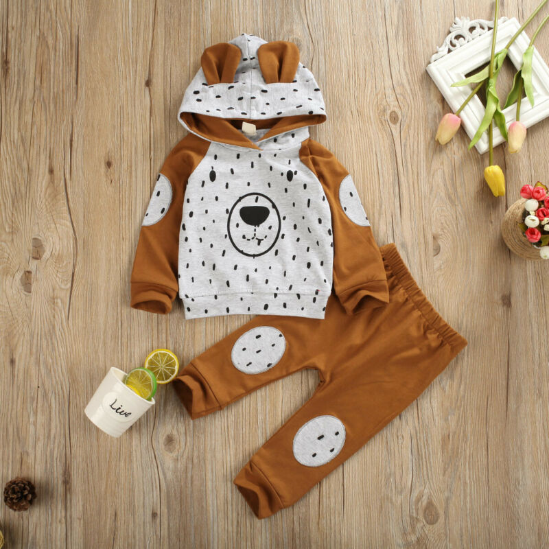 0-24 Months Newborn Luxury Baby Boy Girl Clothing Print Bear Hooded Tops Sweatshirt Pants Tracksuit Outfits Set