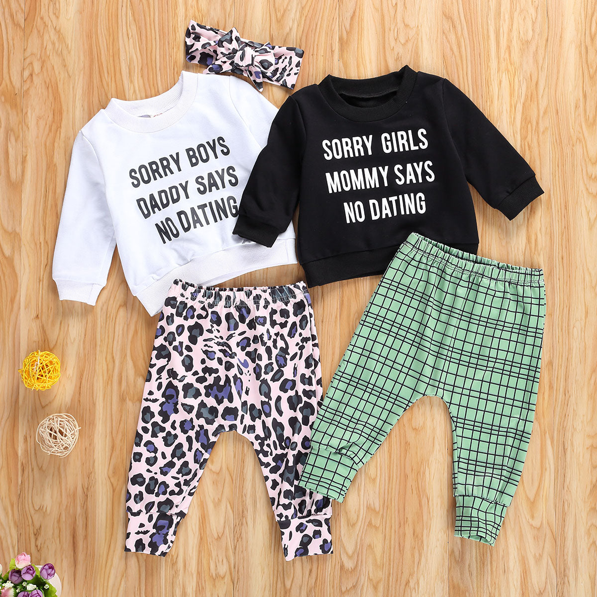 1-4 Years Sorry Boys Daddy says no dating 3Pcs Newborn Toddler Girls Autumn Clothes Letter Printed Shirt Top + Leopard Long Pant Headband Outfit 4Styles