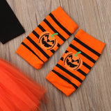 0-24 Months 4PCS Halloween Costume Baby Girl Clothes Pumpkin Romper Long Sleeve Top Tutu Skirt Legging Headband Party Outfits - OUTLATTE