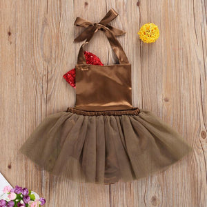 2020 New 0-18 Months Infant Thanksgiving Clothing Newborn Turkey Pattern Romper Mesh Patchwork Bow Halter Jumpsuit Sleeveless Playsuit - OUTLATTE
