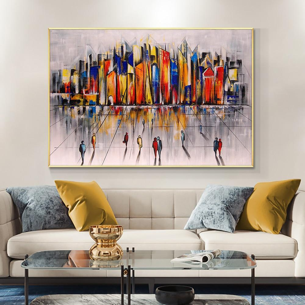 Abstract Colorful Building Oil Painting On Canvas 100% Hand Painted Modern Wall Art Pictures For Living Room Home Decoration - OUTLATTE