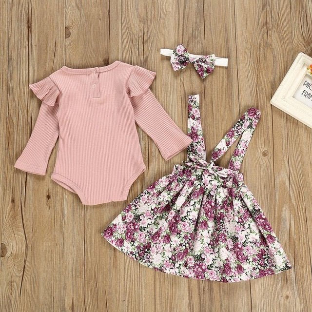 Autumn Luxury Baby Girl Long Flare Sleeve Romper Tops Floral Strap Skirt Headband Outfits Clothes Hot Sale