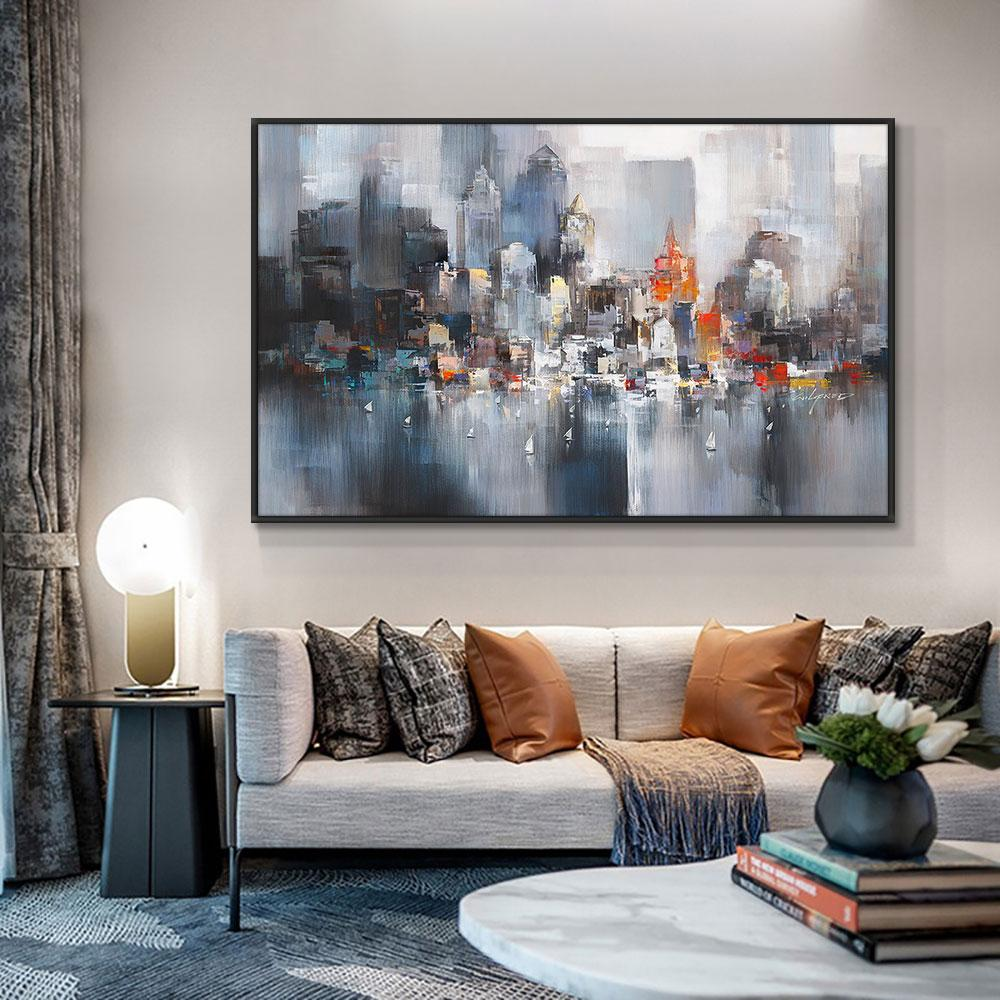 Abstract Big City Buildings 100% Hand Painted Oil Painting On Canvas Handmade Wall Art Pictures For Living Room Home Decor - OUTLATTE