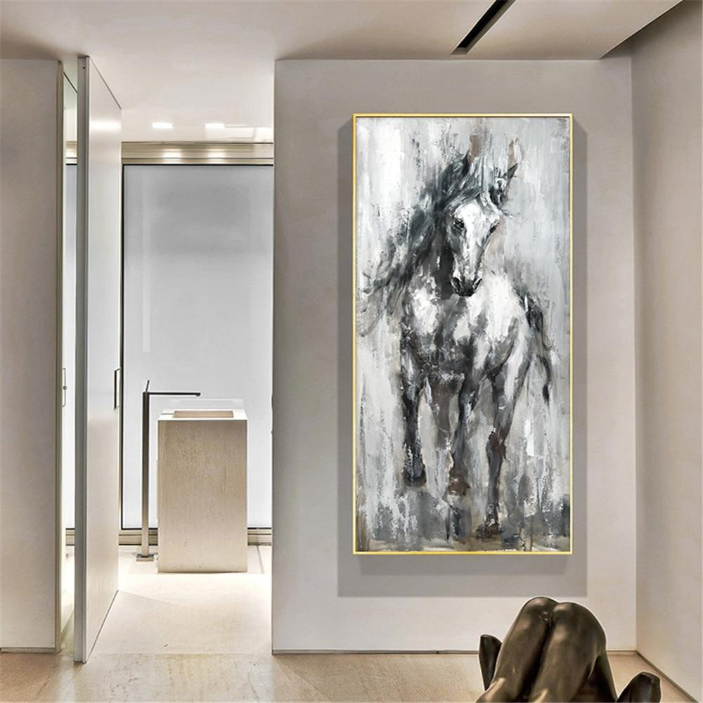 Handmade Oil Painting Canvas Paintings Fashion Horse Painting Wall Art Vintage Animals Acrylic Painting Abstract Home Decoration - OUTLATTE