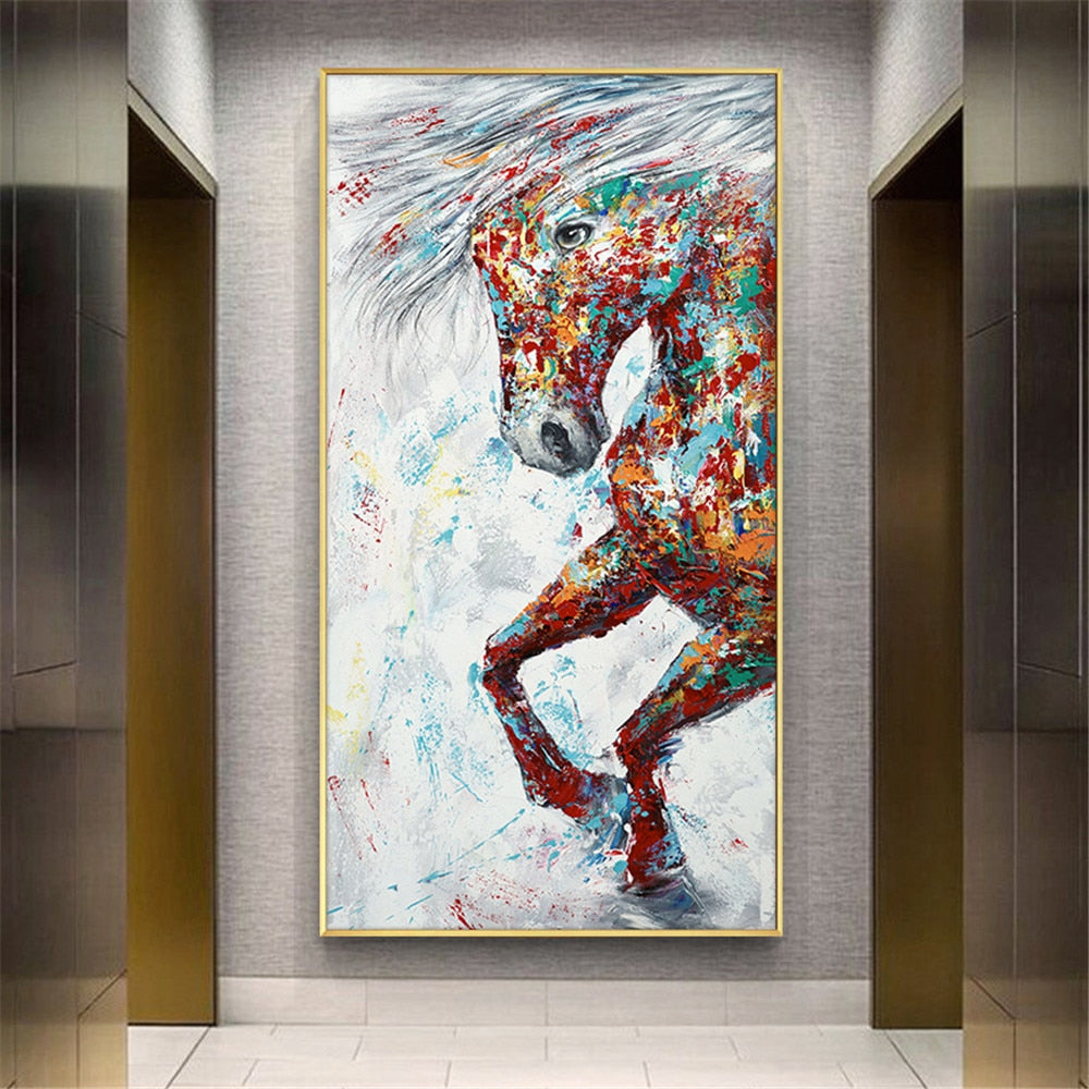 Abstract Painting Handmade Modern Canvas on Oil Painting Palette knife Horse 3D Animals Painting Home Living Room Decor Wall Art