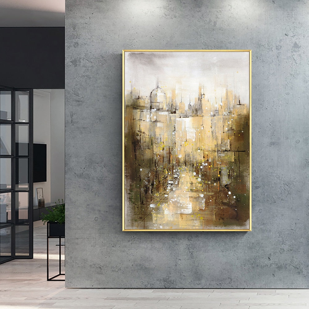 Abstract City Building Painting Picture 100% Handpainted Oil Painting On Canvas Handmade Wedding Decoration For Living Room Home