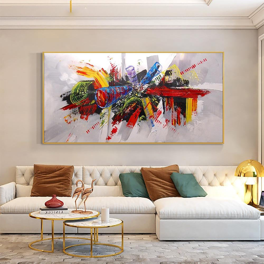 Abstract Colorful Painting 100% Hand Painted Oil Paintings On Canvas Handmade Large Size Modern Wall Art For Hoouse Decoration - OUTLATTE
