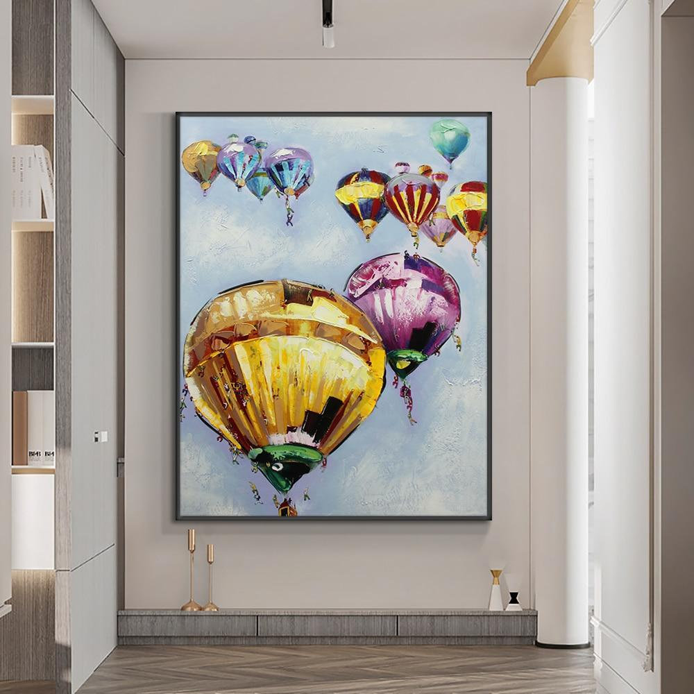 Abstract Hot Air Balloon Oil Painting On Canvas 100% Hand Painted Modern Wall Art Pictures For Living Room Home Decoration - OUTLATTE