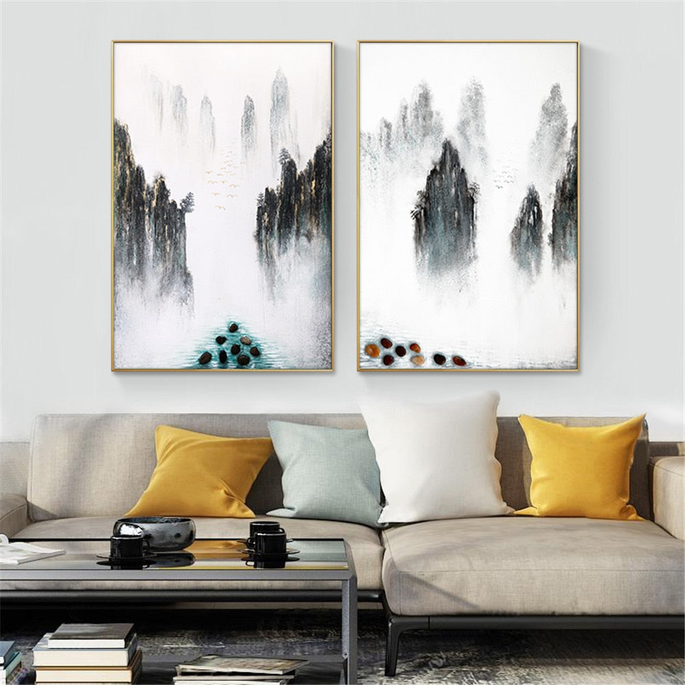 Abstract Mountain Oil Paintings On Canvas Landscape Wall Art Pictures 100% Hand Painted Paintings For Living Room Home Decor