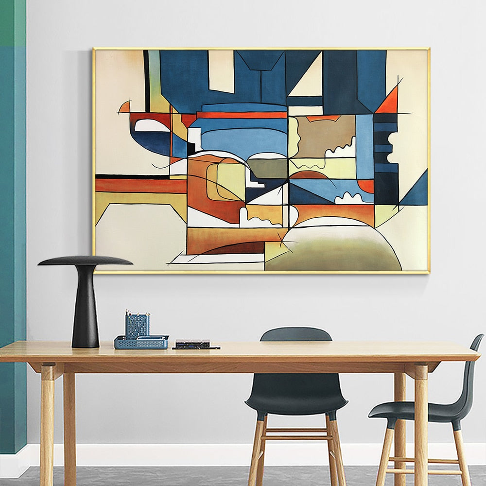 Abstract Geometric Wall Art 100% Hand Painted Oil Painting On canvas Colorful Handmade Paintings For Living Room Home Decor