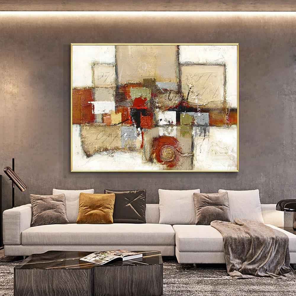 Abstract Geometric Painting 100% Hand Painted Oil Painting On Canvas Handmade Wall Art Pictures For Living Room Home Decoration - OUTLATTE