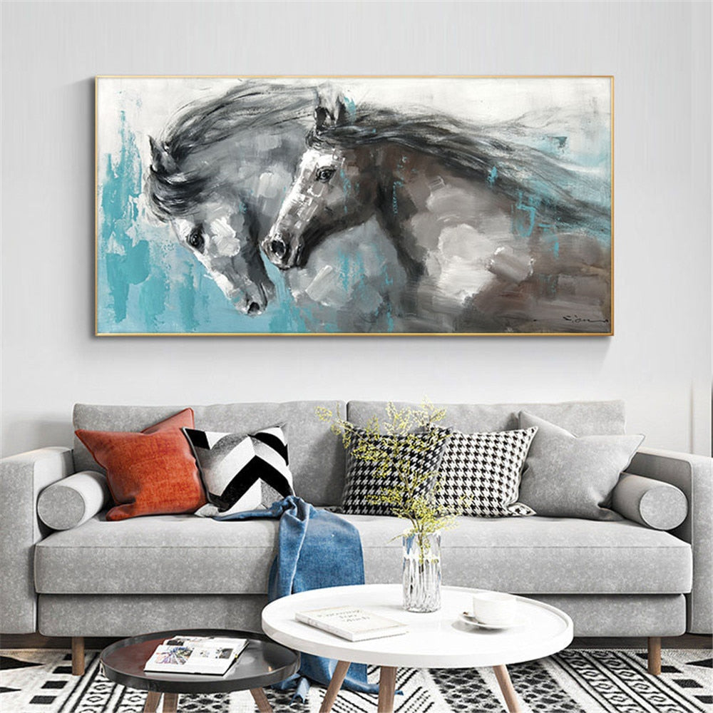 Handmade Oil Painting Canvas Paintings Running Horse Painting Wall Art Vintage Animals Acrylic Painting Abstract  Home Decor