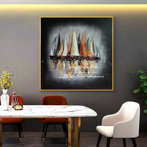 Abstract 100% Hand Painted Oil Painting On Canvas Abstract Sailing Boats On The River Painting Wall Art For Modern Home Decor