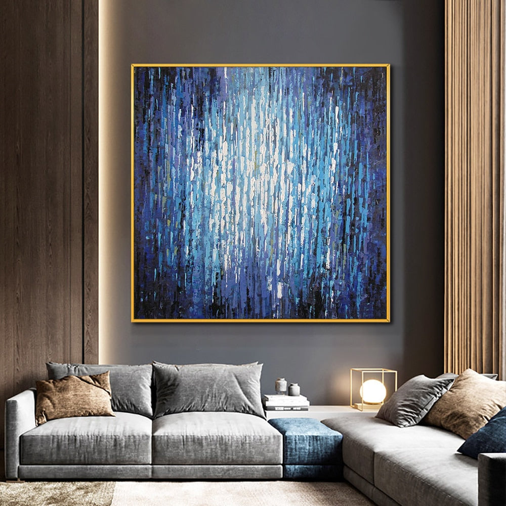 Abstract Purple Blue Oil Painting 100% Hand Painted On Canvas Wall Art  Vintage Minimalist Poster Art For Modern Home Decor