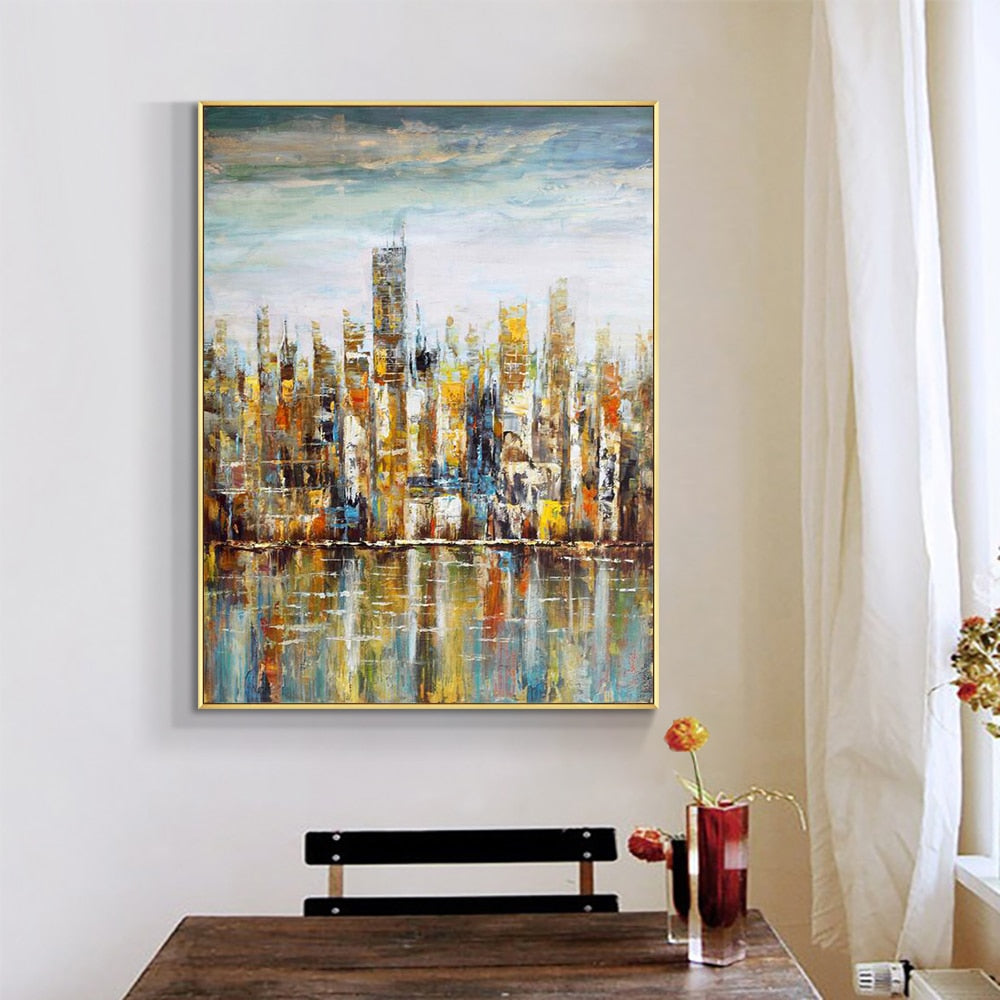 Abstract Colorful Building Oil Painting 100% Handpainted On Canvas Without Frame Fashion Modern Wall Art For Home Decoration