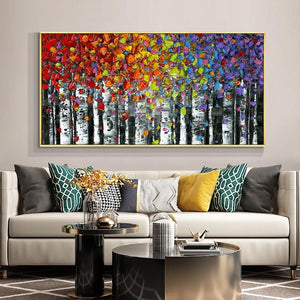 Abstract Tree With Colorful Leaves 100% Hand Painted Oil Painting On Canvas Thick Palette Knife Painting Wall Art For Home Decor - OUTLATTE