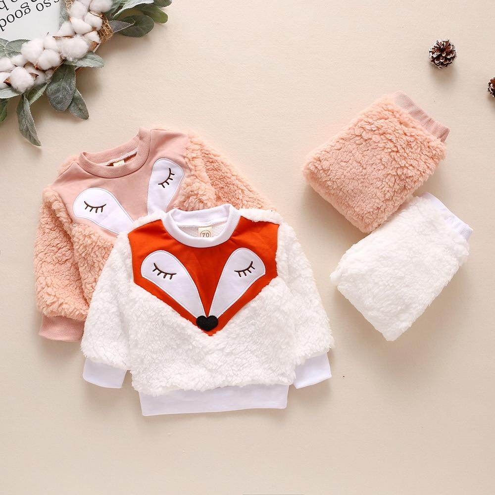 Winter Lamb Wool Newborn Baby Girls Clothes Cartoon Printed Tops And Pants Casual Round Neck Infant Girls Outfits Clothing D30 - OUTLATTE